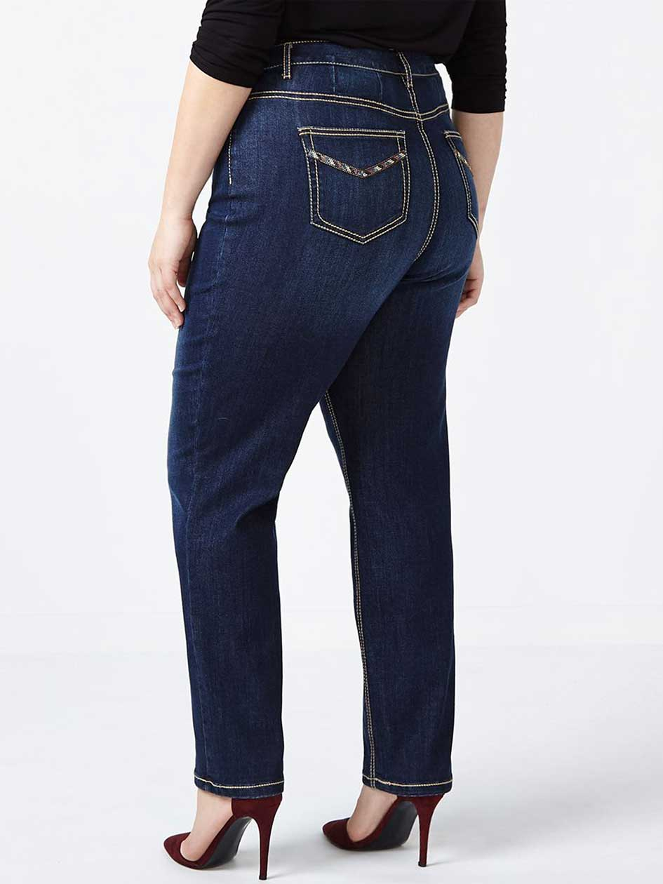Curvy Fit Straight Leg Jean with Rhinestones - d/c JEANS