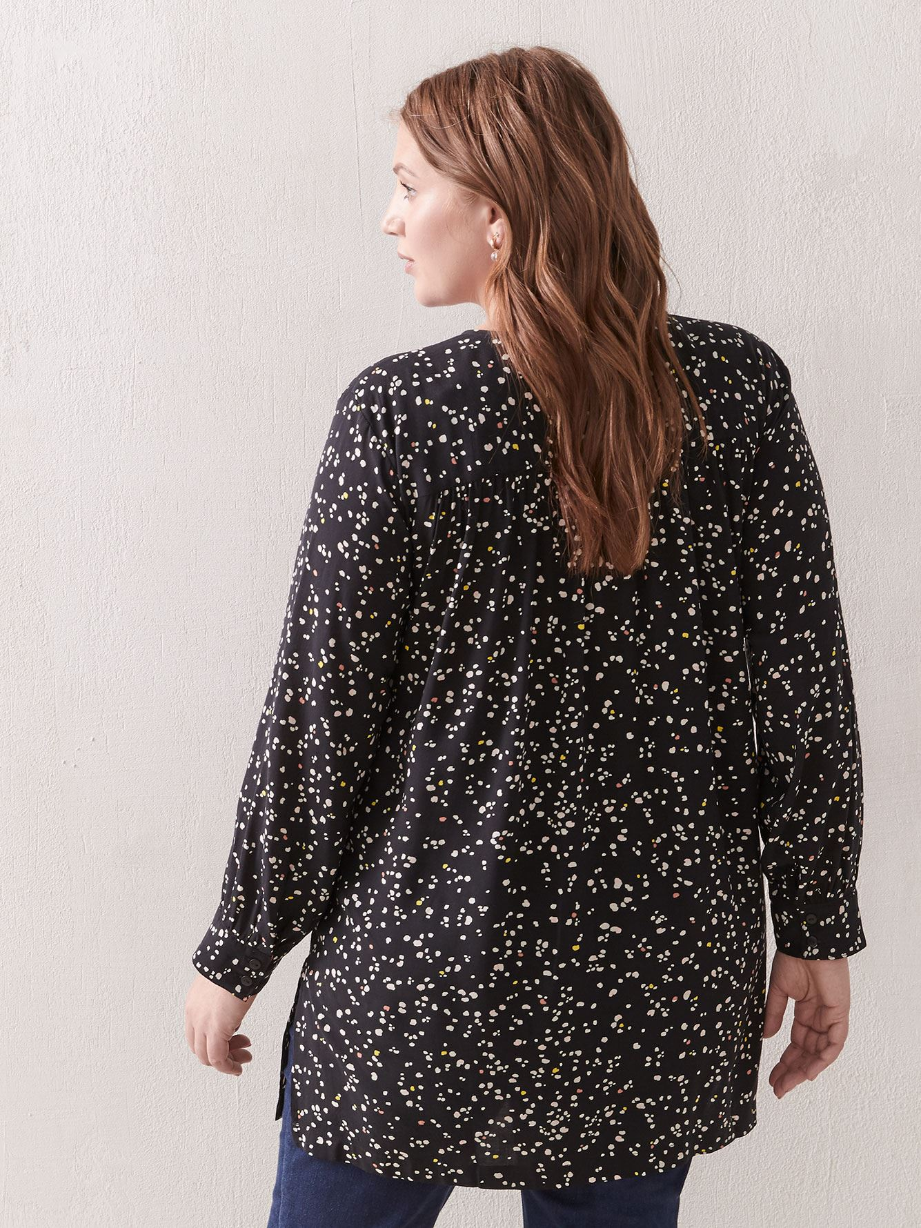 Printed Long-Sleeve Tunic Blouse - Addition Elle