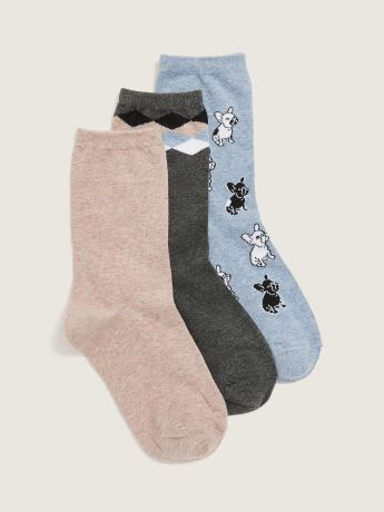 Printed Crew Socks, 3-Pack - Addition Elle