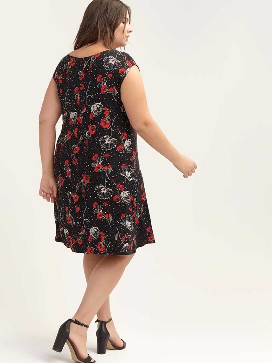 Printed Swing Dress with Keyhole - In Every Story