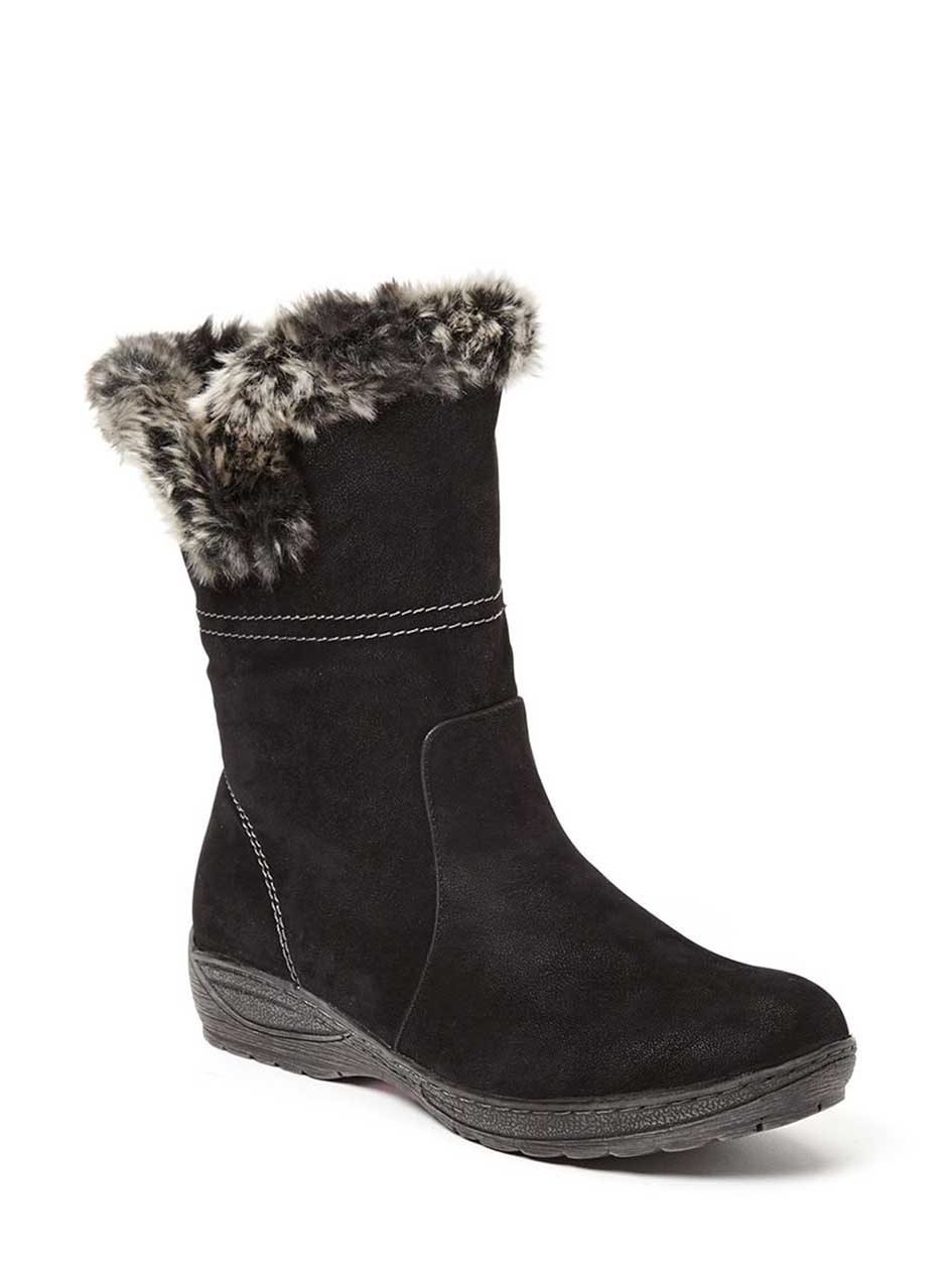 Wide-Width Booties with Faux-Fur