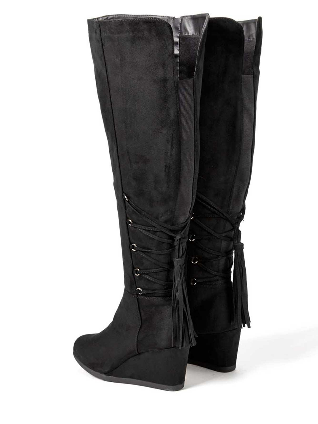 69c31353366 Wide-Width Faux-Suede Wedge Boots