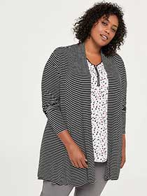 Striped Open Cardigan with Cascade Collar - In Every Story