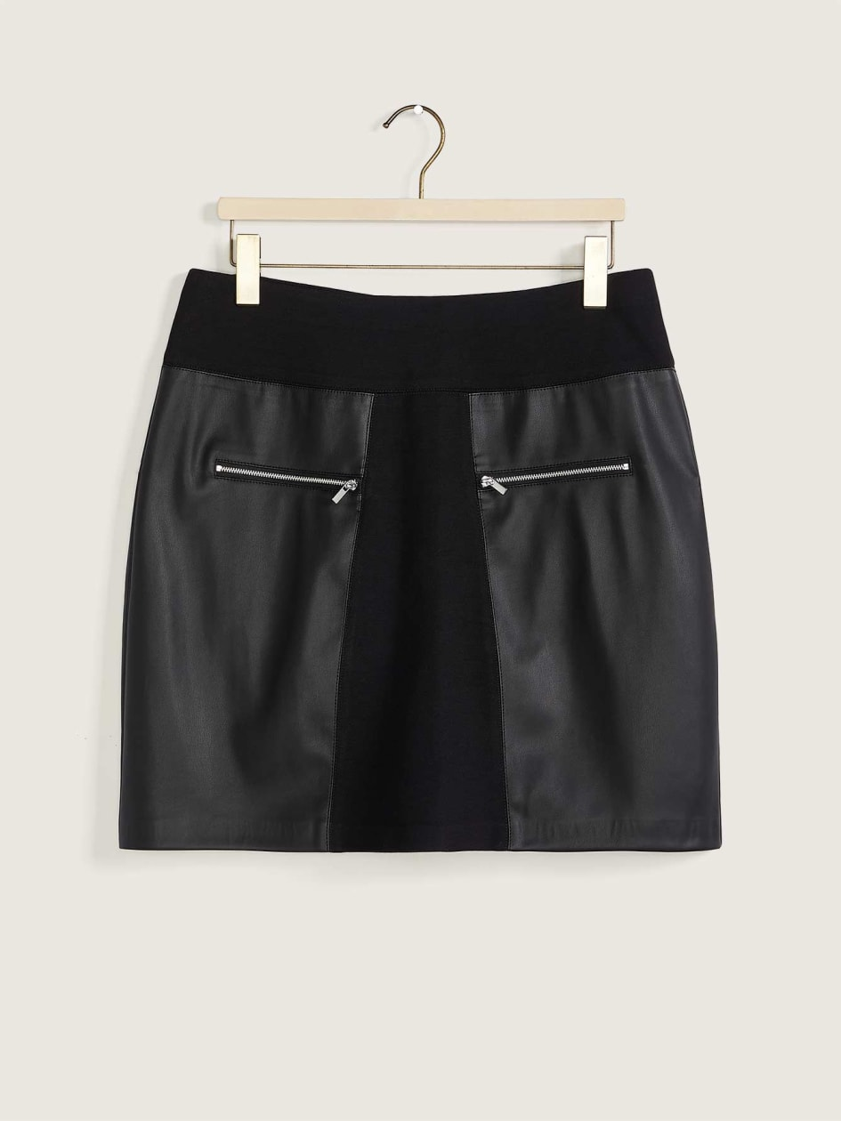 Mixed Media High-Waisted Skirt - Addition Elle