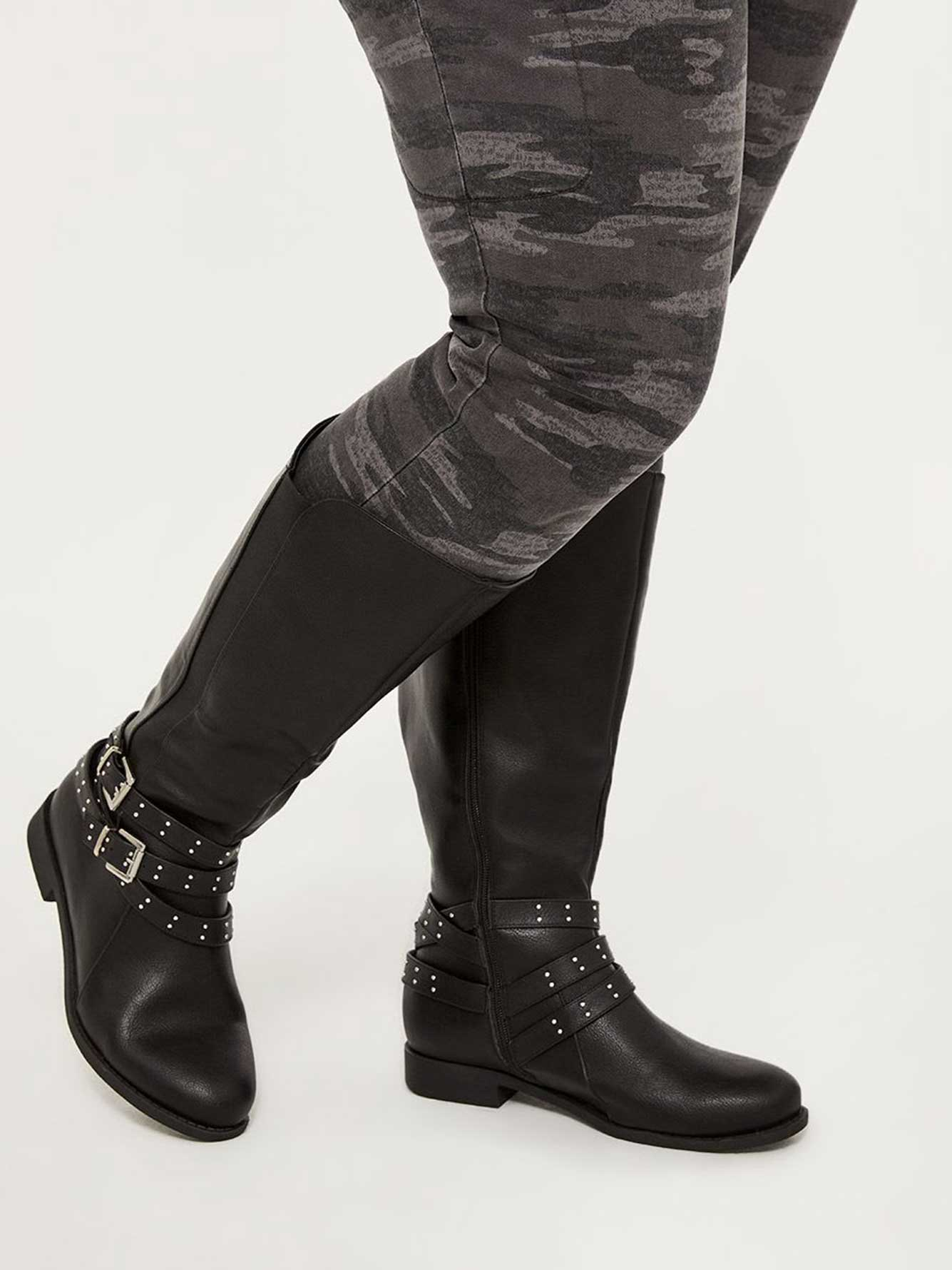 Extra Wide Calf Tall Boots with Buckles and Studs