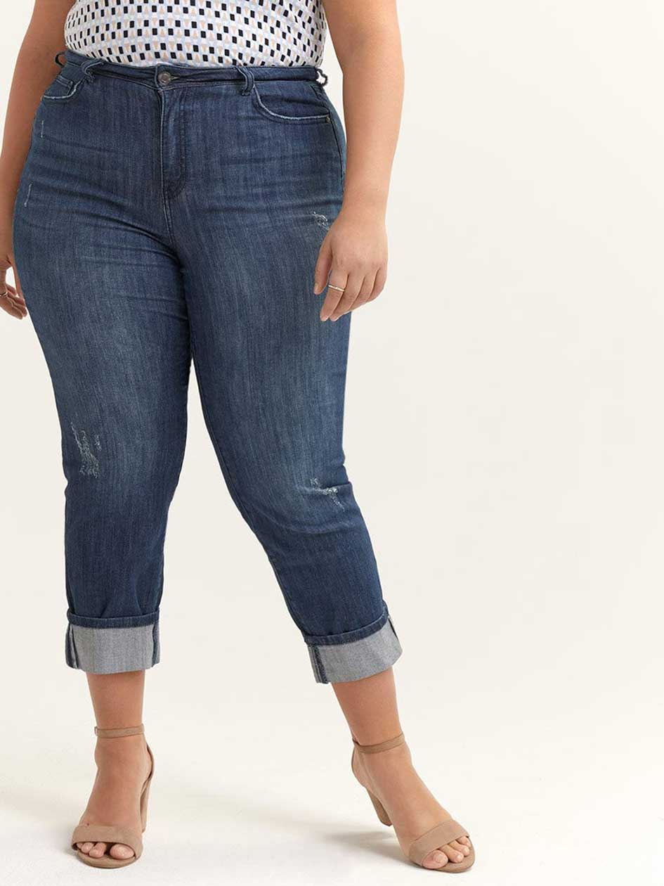 Slightly Curvy Distressed Girlfriend Jean - d/C JEANS