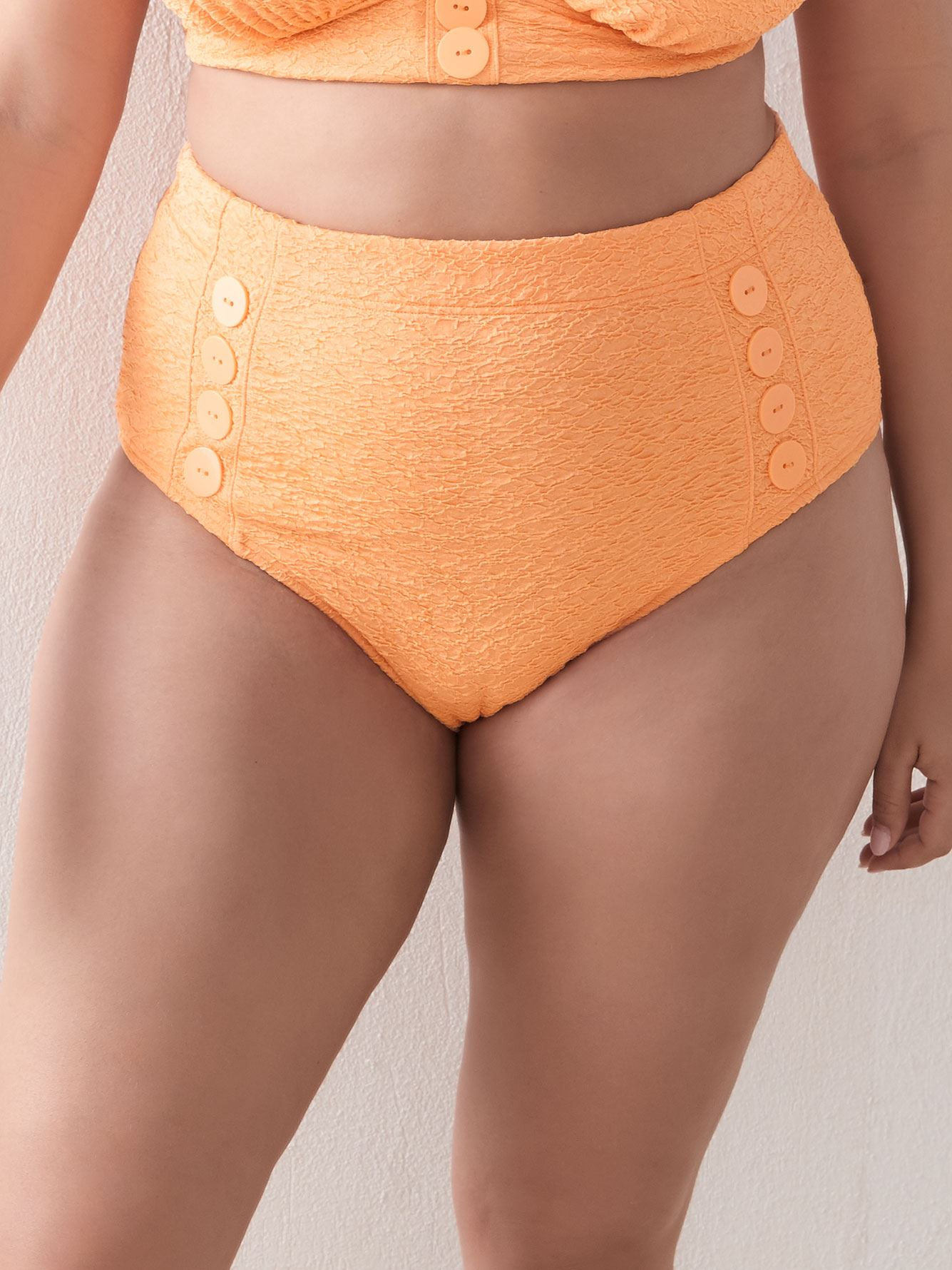 High Waist Bikini Bottom with Buttons - Addition Elle