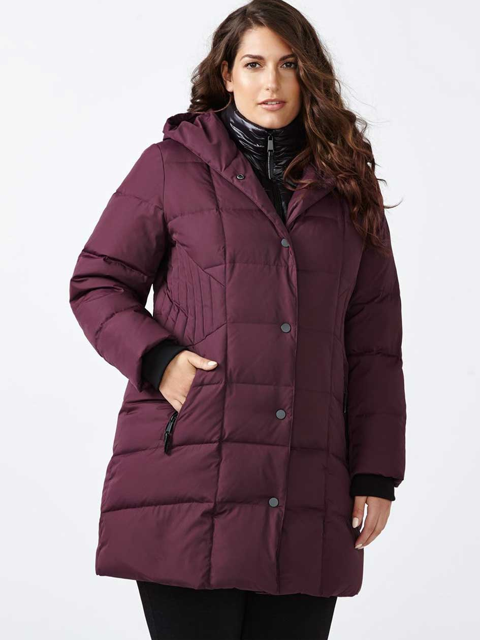 Long Puffer Jacket with Fooler Collar