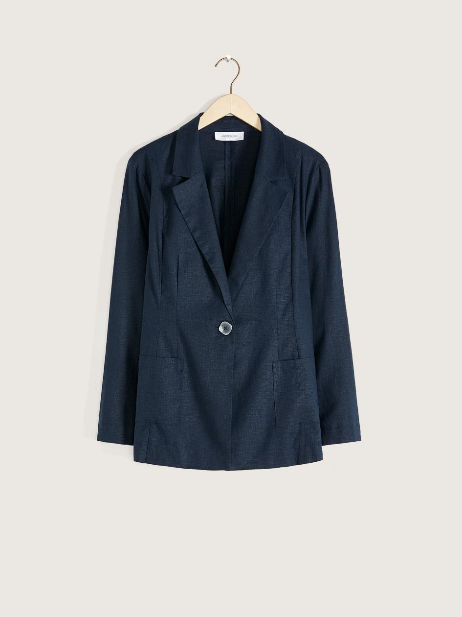 Solid Semi-Fitted Linen Blazer - Addition Elle