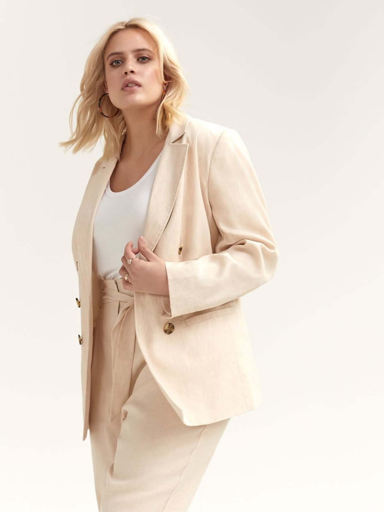 Double Breasted Linen Blazer