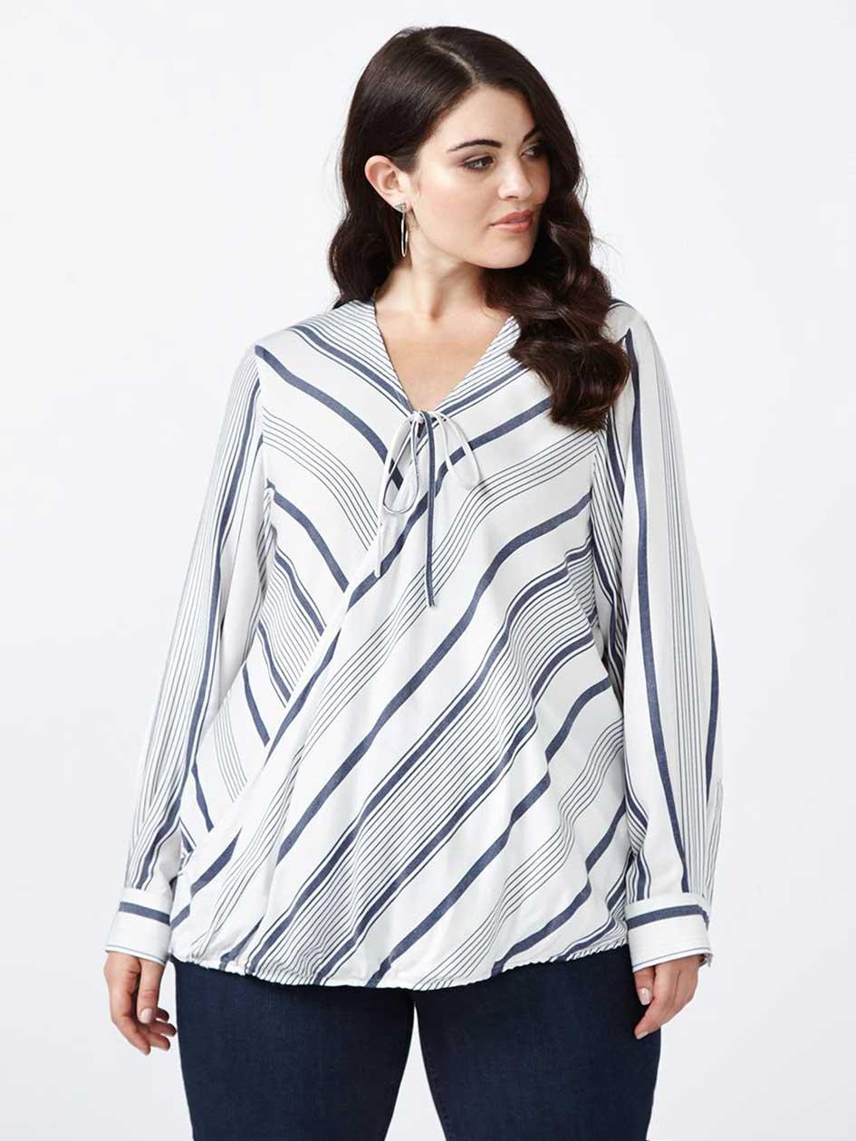 Striped Wrap Blouse - MELISSA McCARTHY