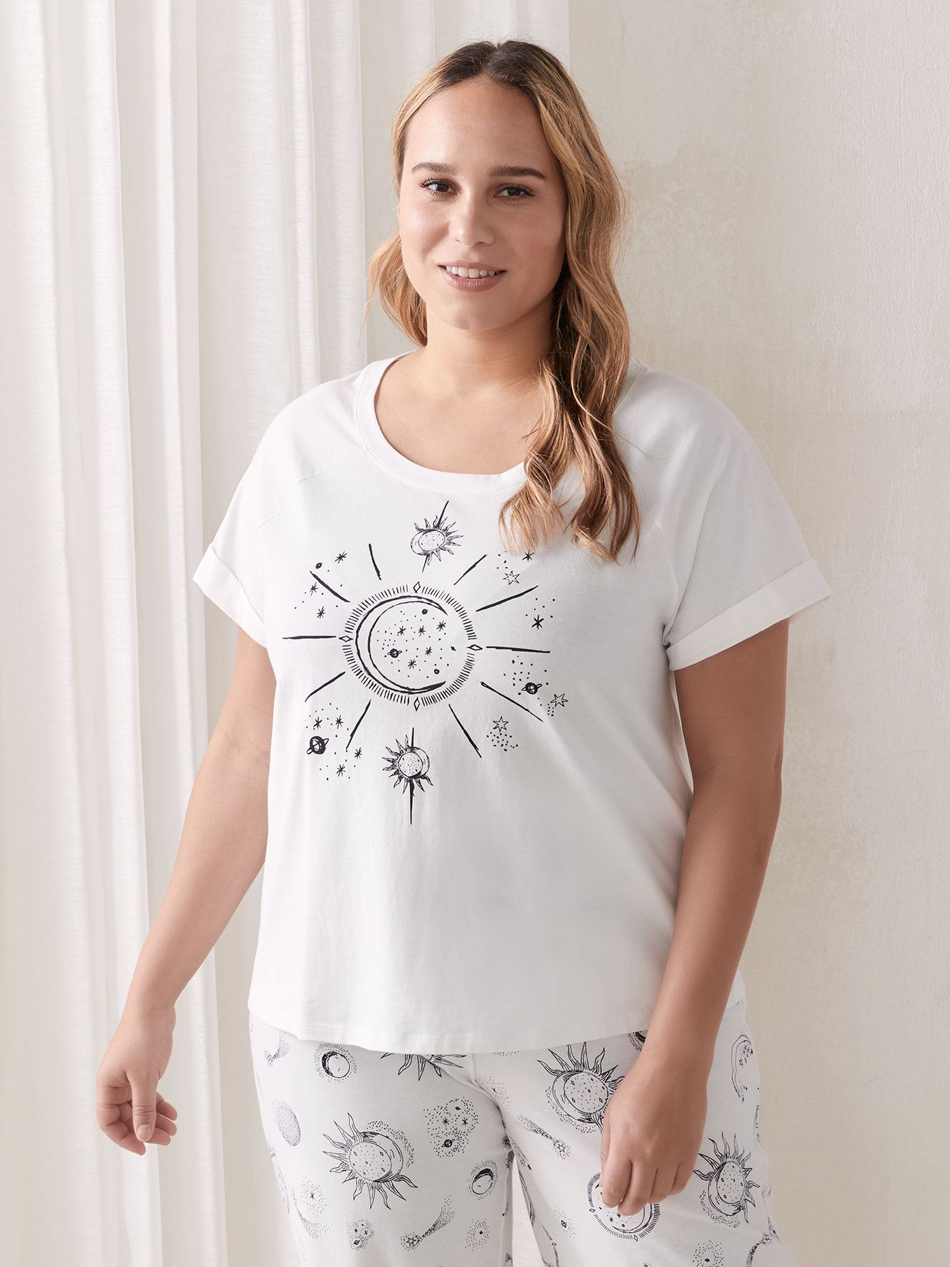 Printed Cotton Pajama T-Shirt - Addition Elle