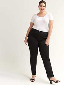 Slightly Curvy Fit Straight Leg Black Jean - d/C JEANS