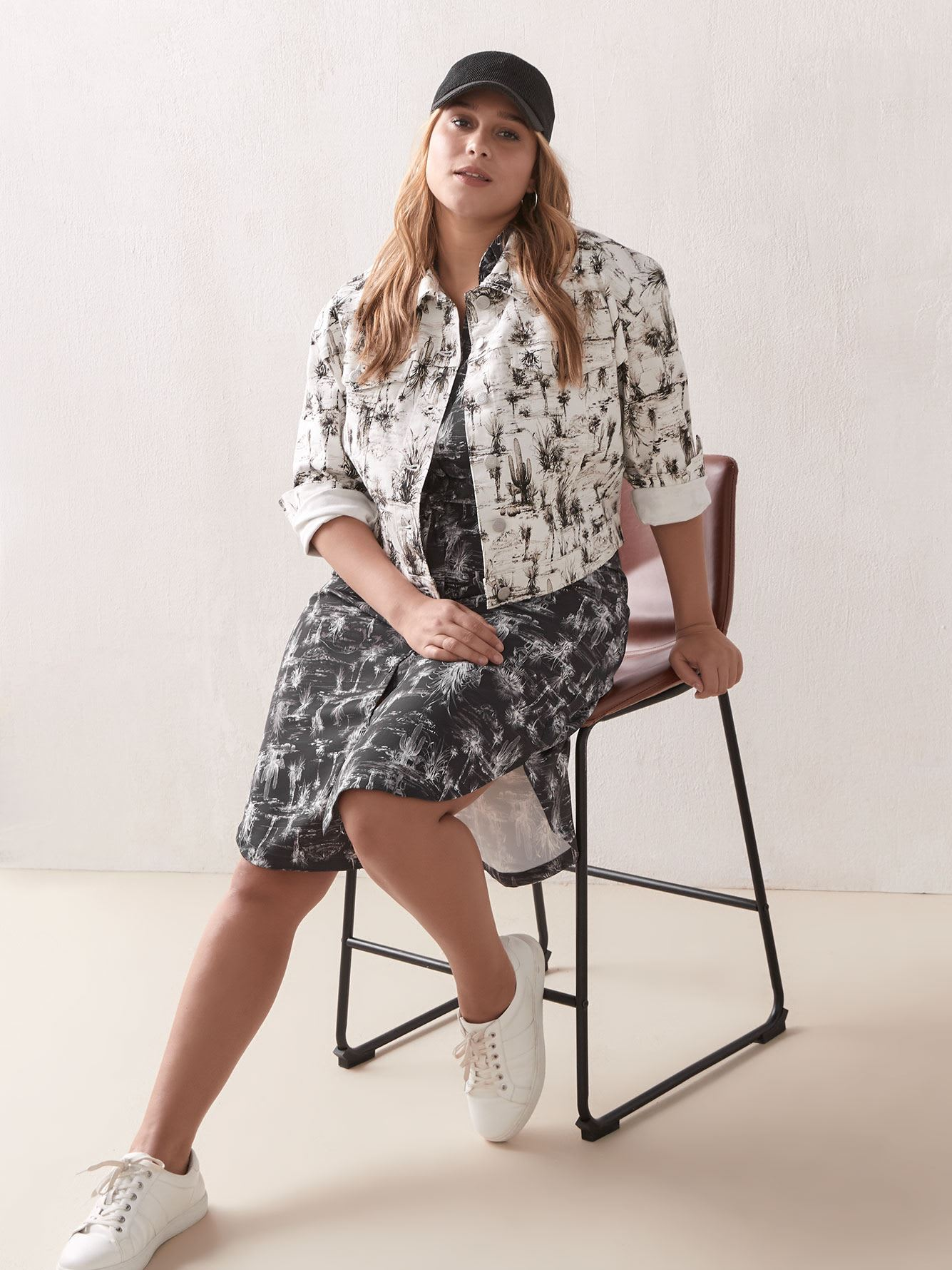 Printed Short Sleeve Midi Shirt Dress - Addition Elle