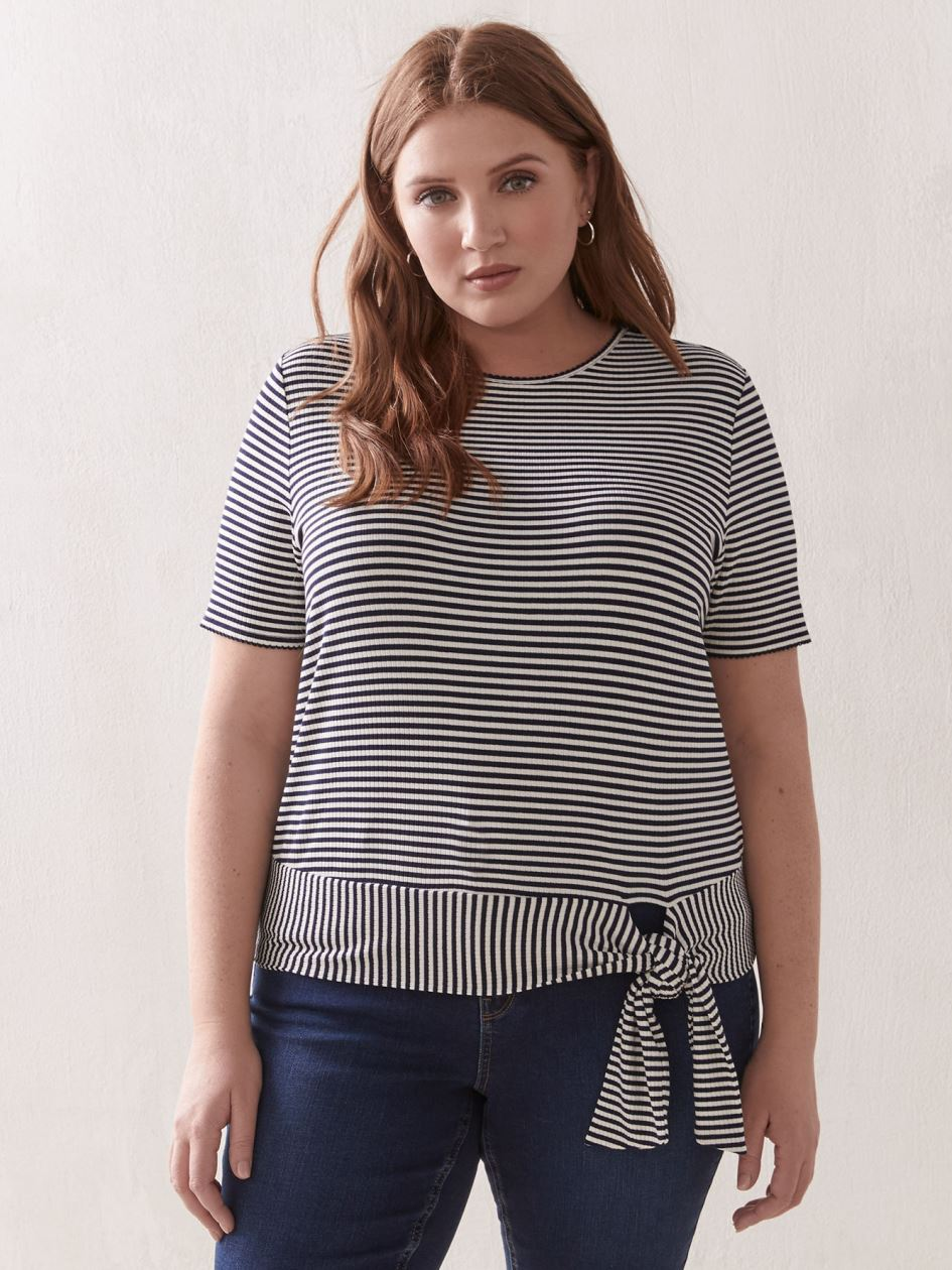 Striped Top with Self-Tie At Hem - Addition Elle