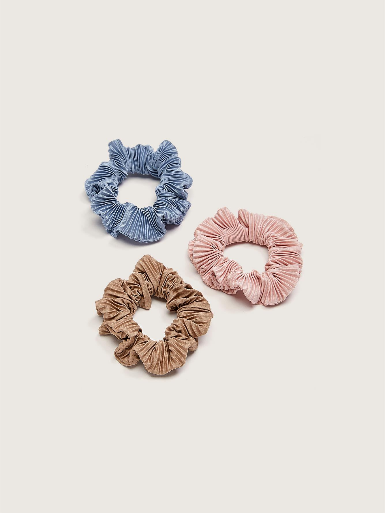 Pleated Hair Scrunchies, 3-Pack - Addition Elle