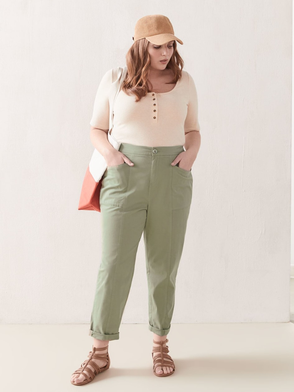 Solid Rolled Cuff Ankle Pant - Addition Elle