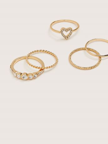5-Pack Stackable Heart Rings - Addition Elle