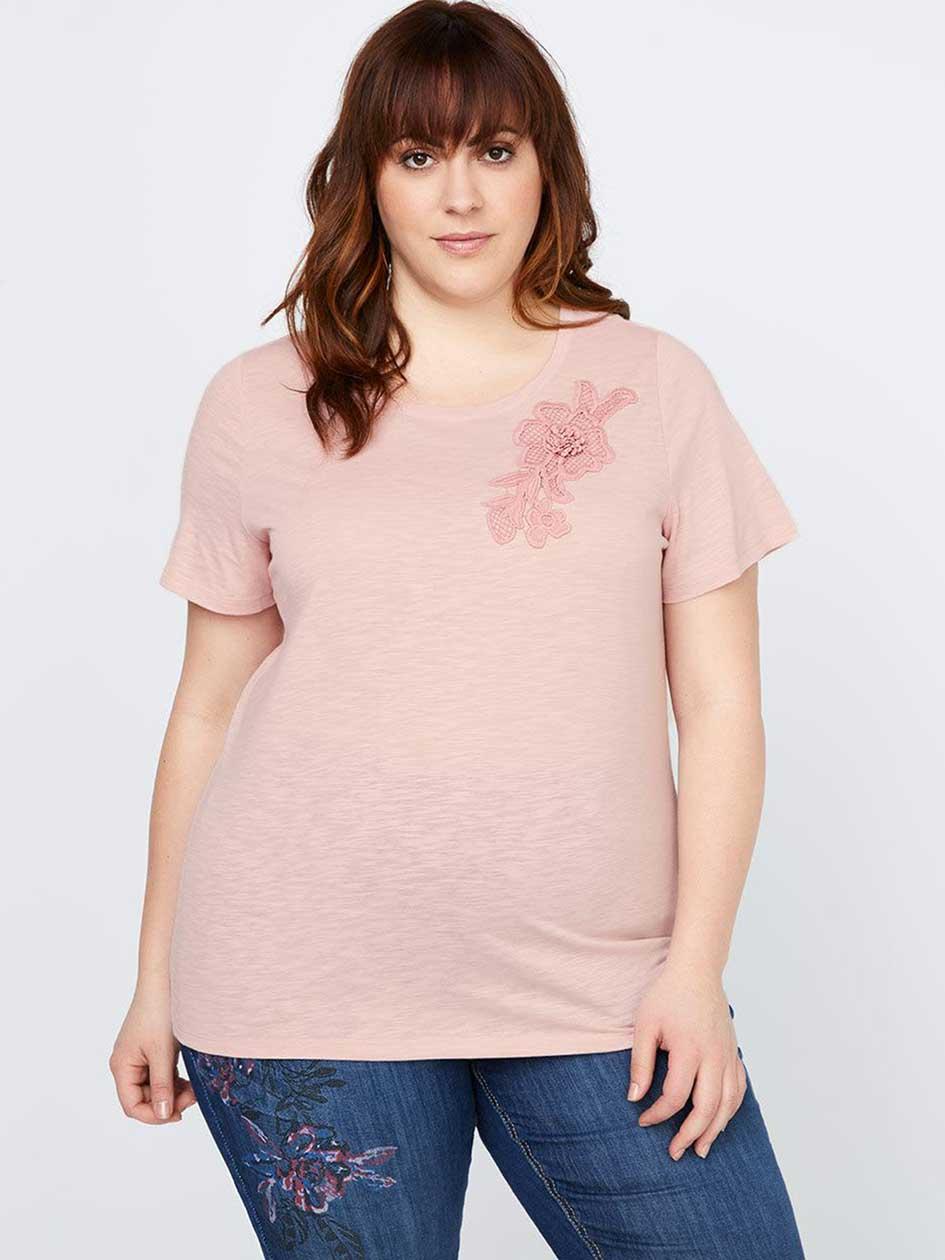 Curve Fit T-Shirt with Crochet - d/C JEANS