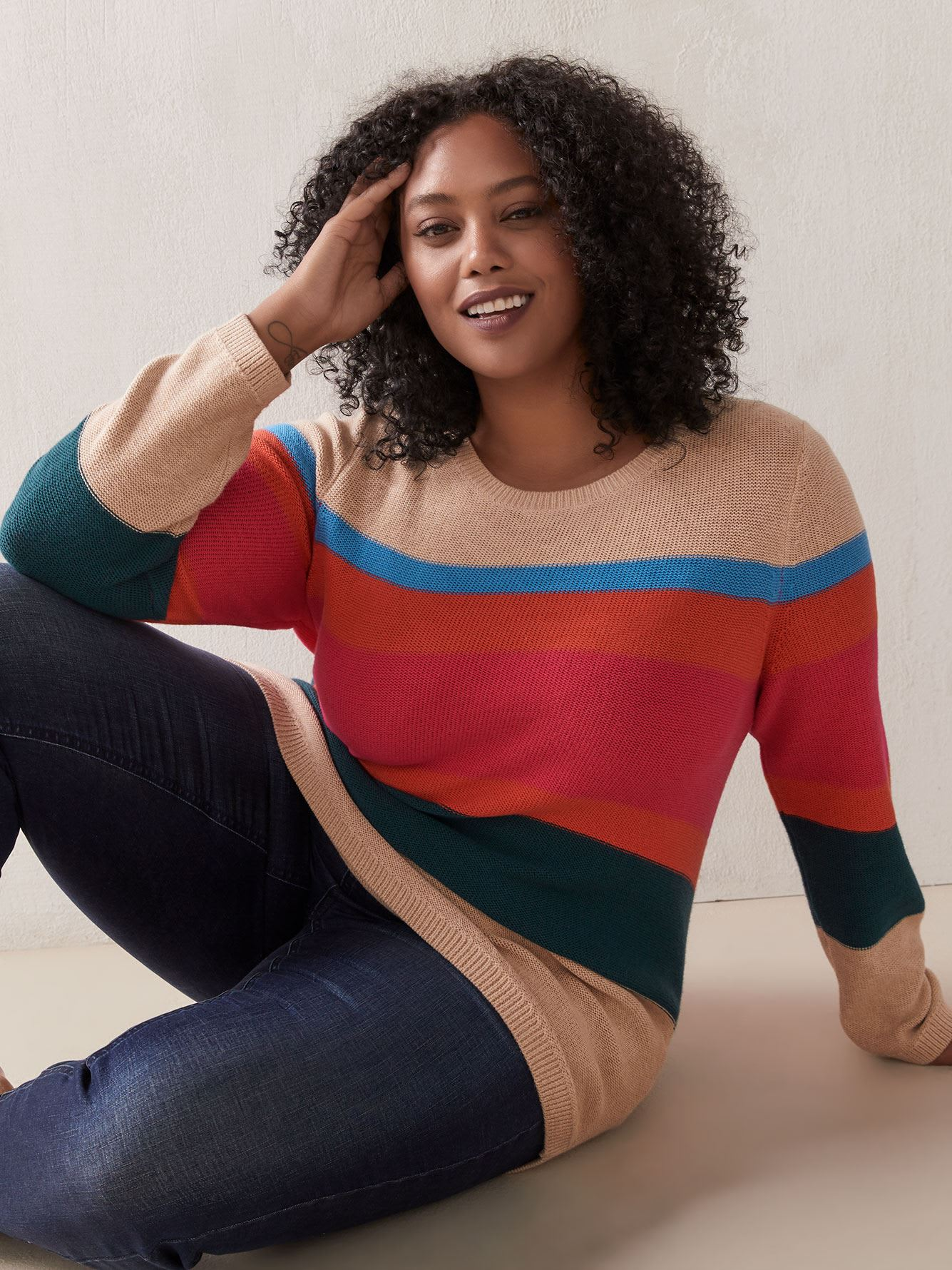 Striped Relaxed Tunic Sweater - In Every Story