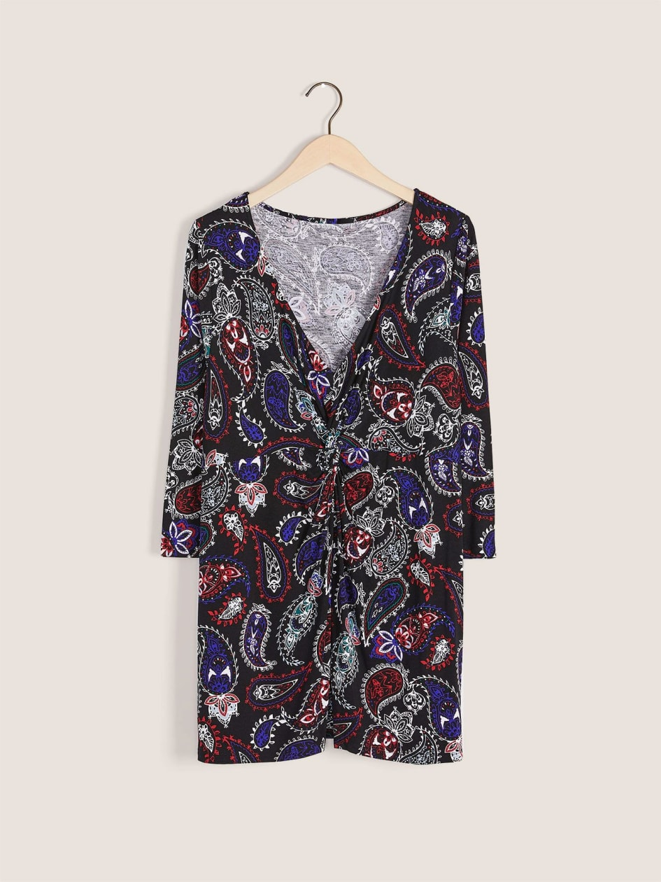 Printed Front Knot Top - In Every Story