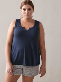 Sleeveless Ribbed PJ Top - Addition Elle