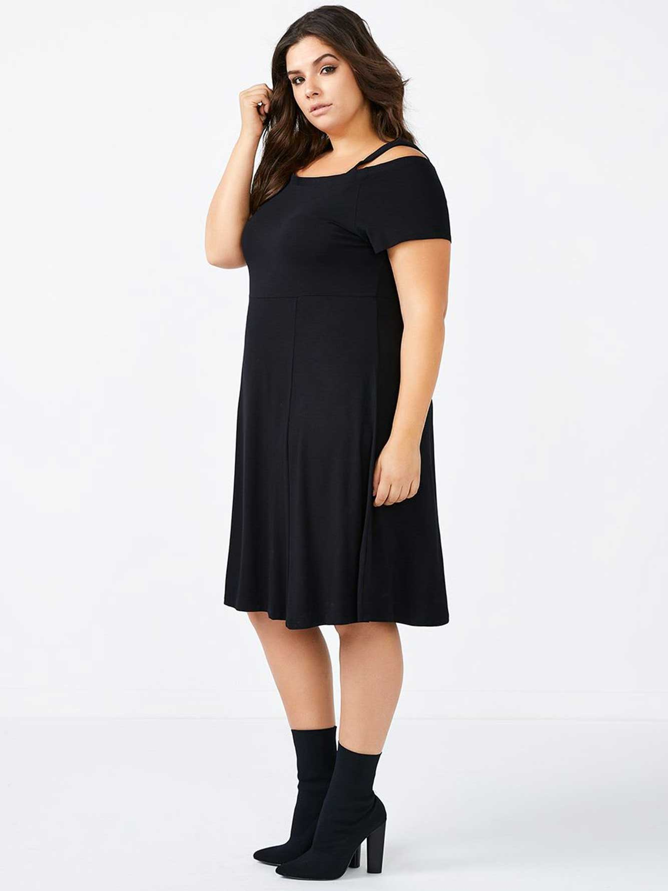9a0c7beab3 Off Shoulder Fit and Flare Black Dress | Penningtons