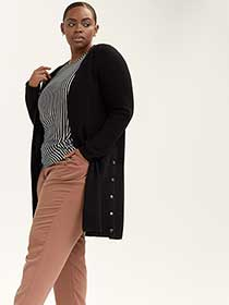 Long Knit Cardigan with Side Snap Buttons - In Every Story