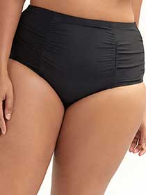 Solid High Waist Swim Brief - Raisins Curve