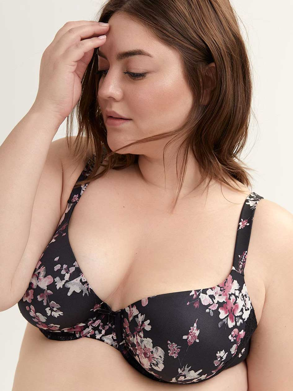 Printed Padded Demi T-Shirt Bra with Lace Trim - ti Voglio
