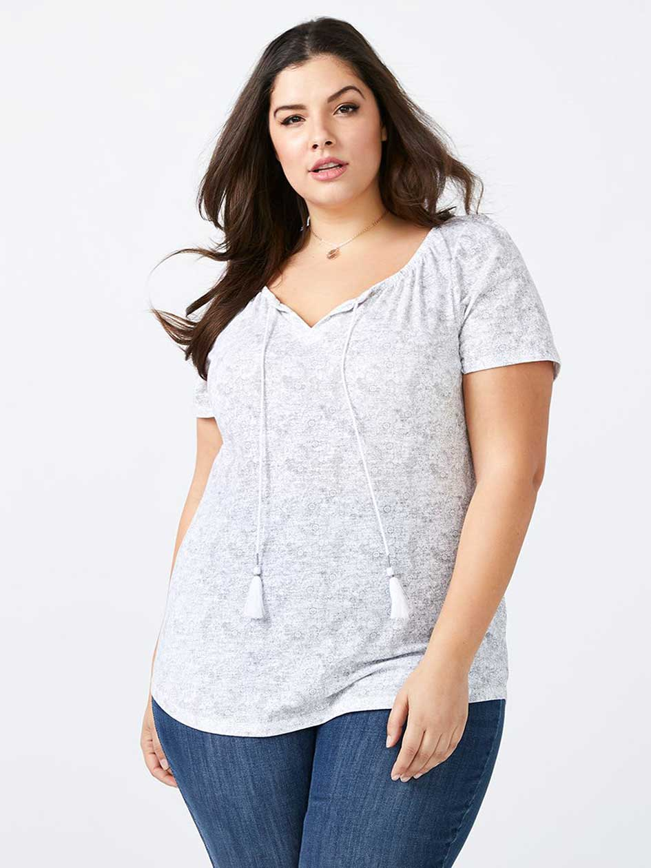 Curve Fit Split Neck T-Shirt - d/c JEANS