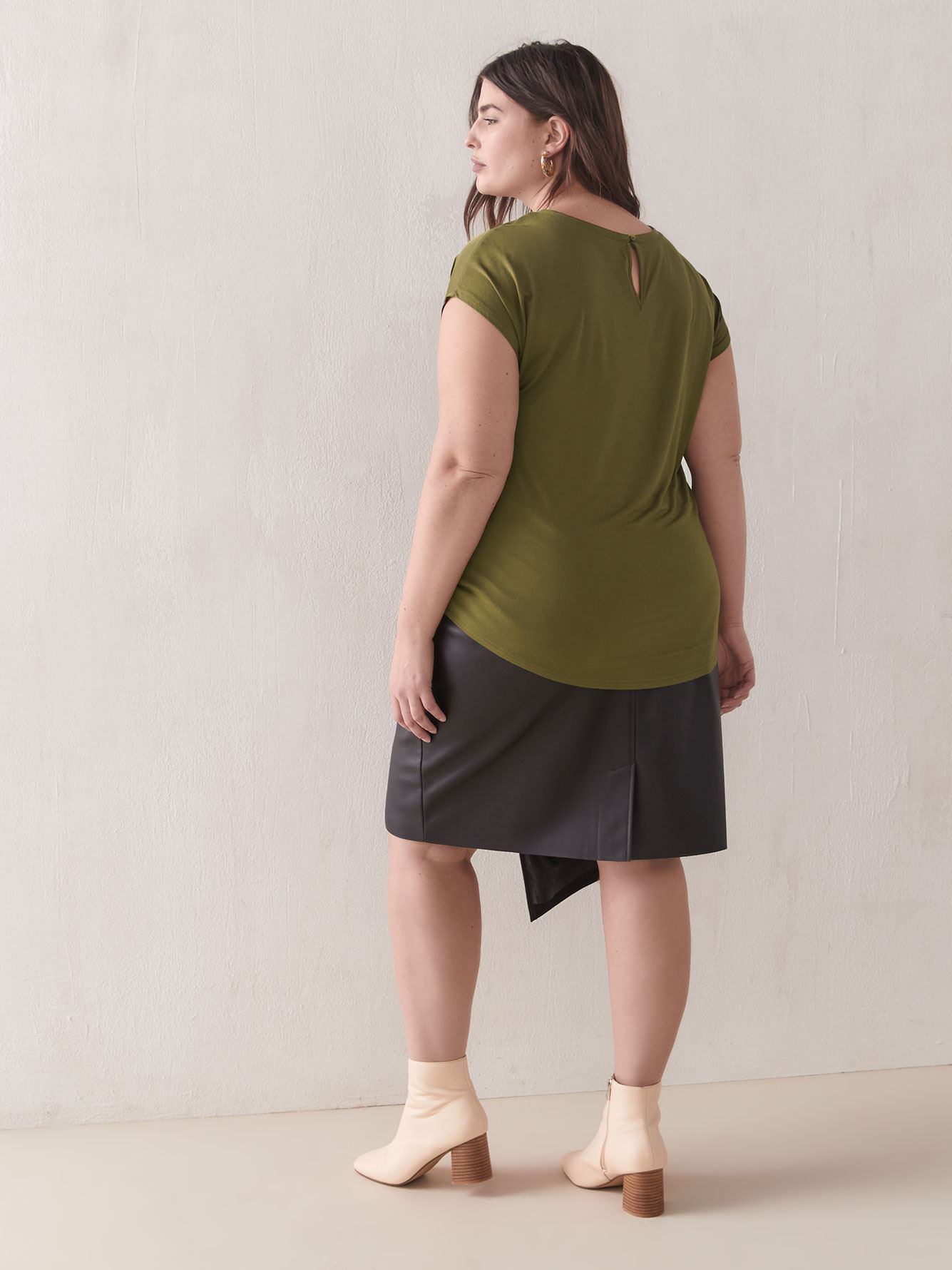 Short-Sleeve Mix Media Top - Addition Elle
