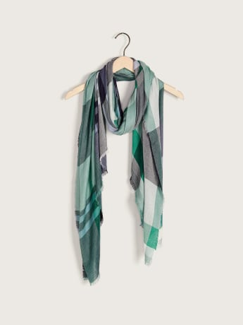 Plaid Print Fringe Scarf - Addition Elle