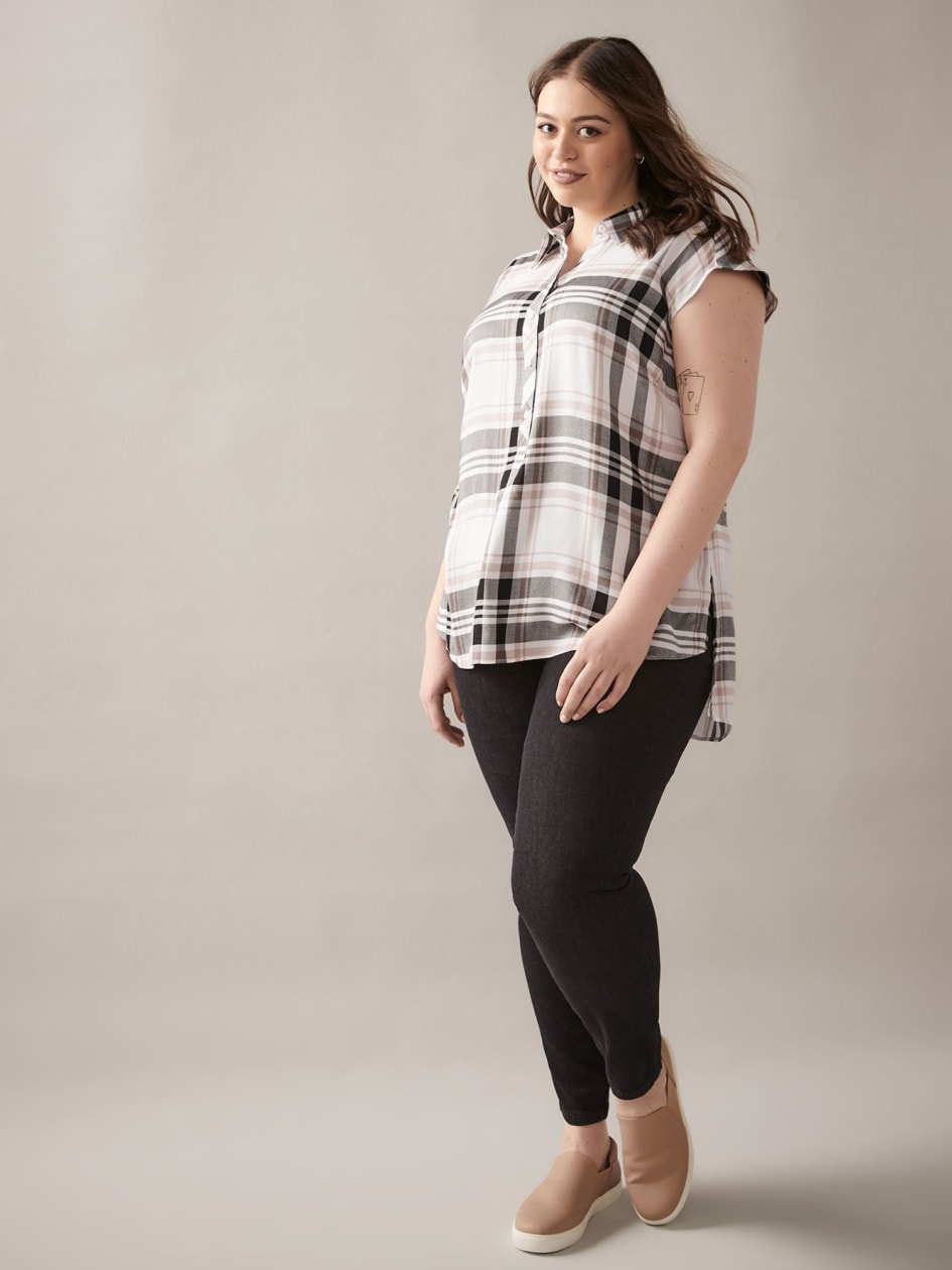 High-Low Plaid Blouse - In Every Story
