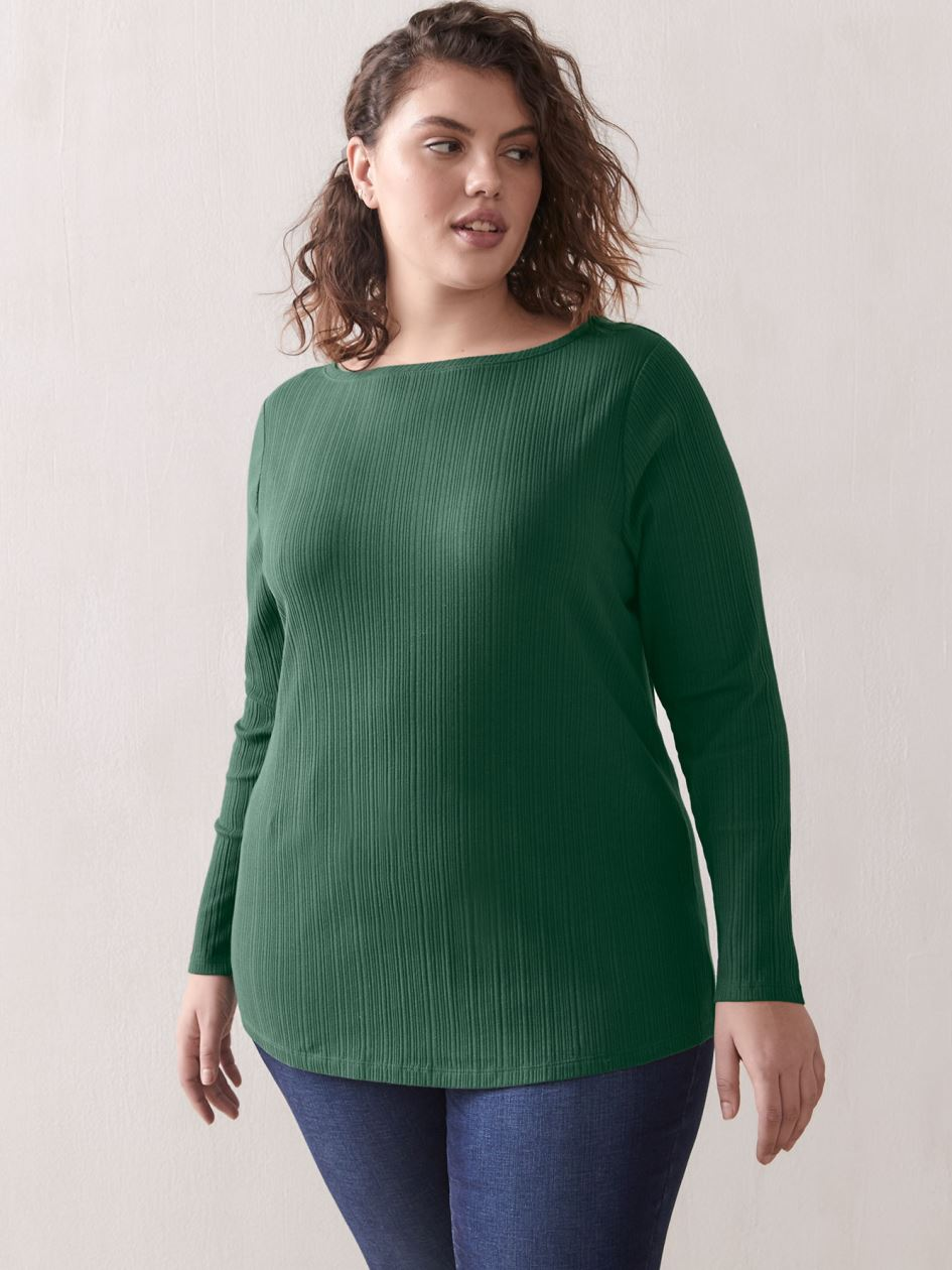 Ribbed Crew-Neck Top - Addition Elle