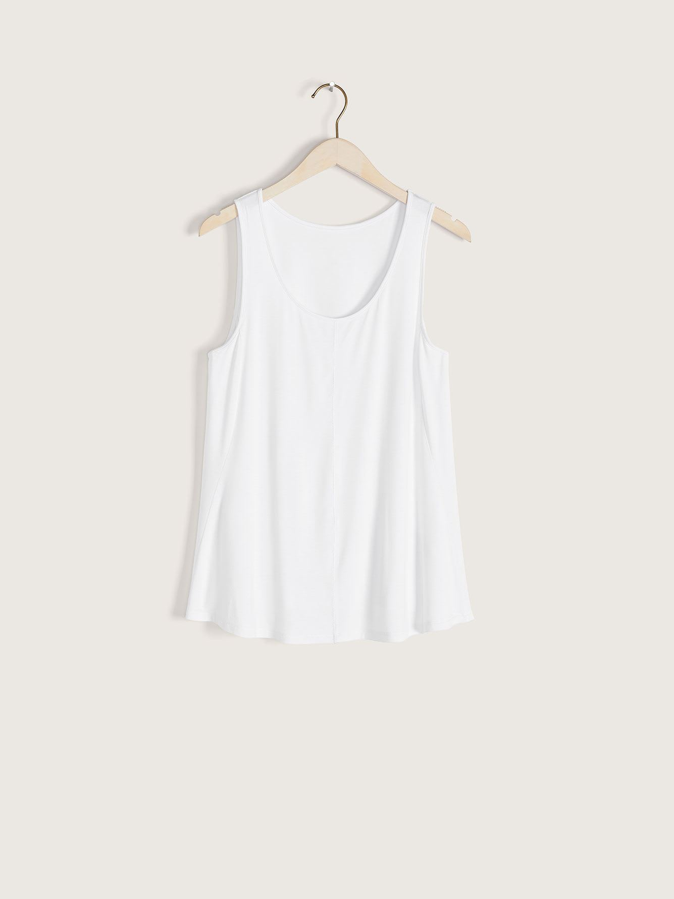 White Scoop-Neck Swing Tank Top - Addition Elle