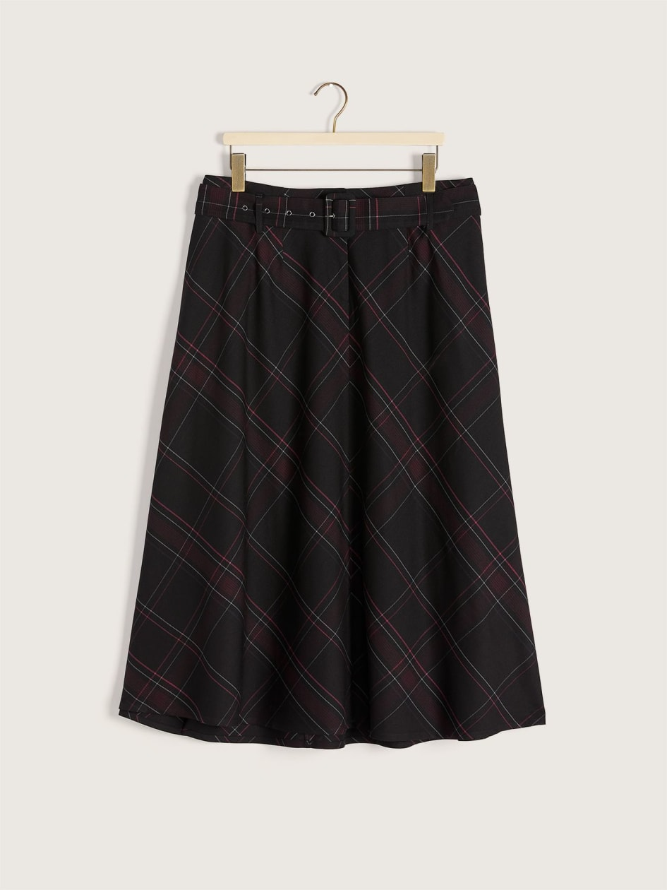 Plaid Bias Belted Skirt - Addition Elle