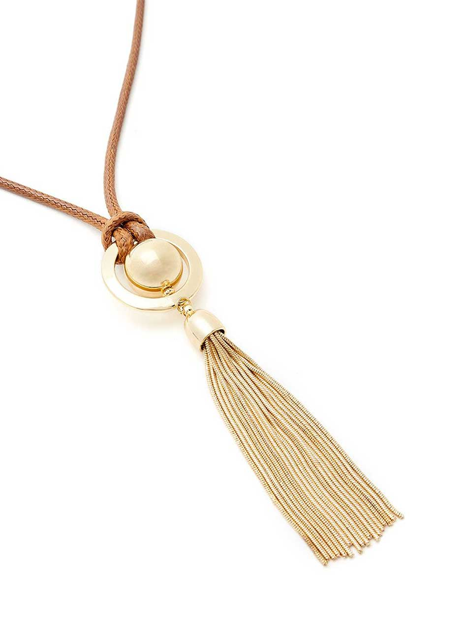 Cord Necklace with Circle Pendant and Tassel