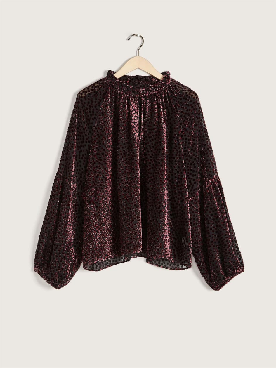 Balloon-Sleeve Burnout Velvet Blouse - Addition Elle