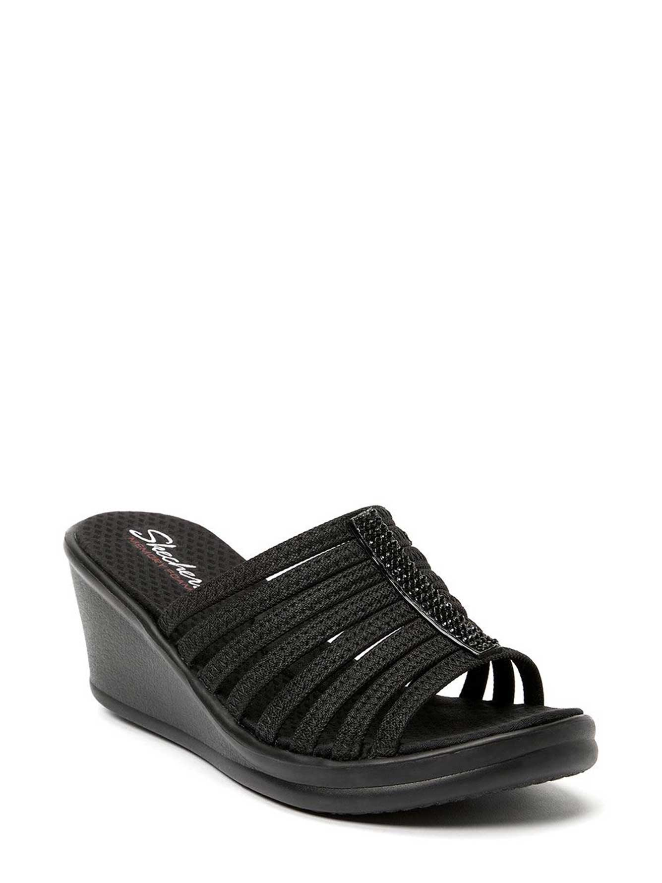 Wide-With Slide Sandals with Rhinestones - Skechers