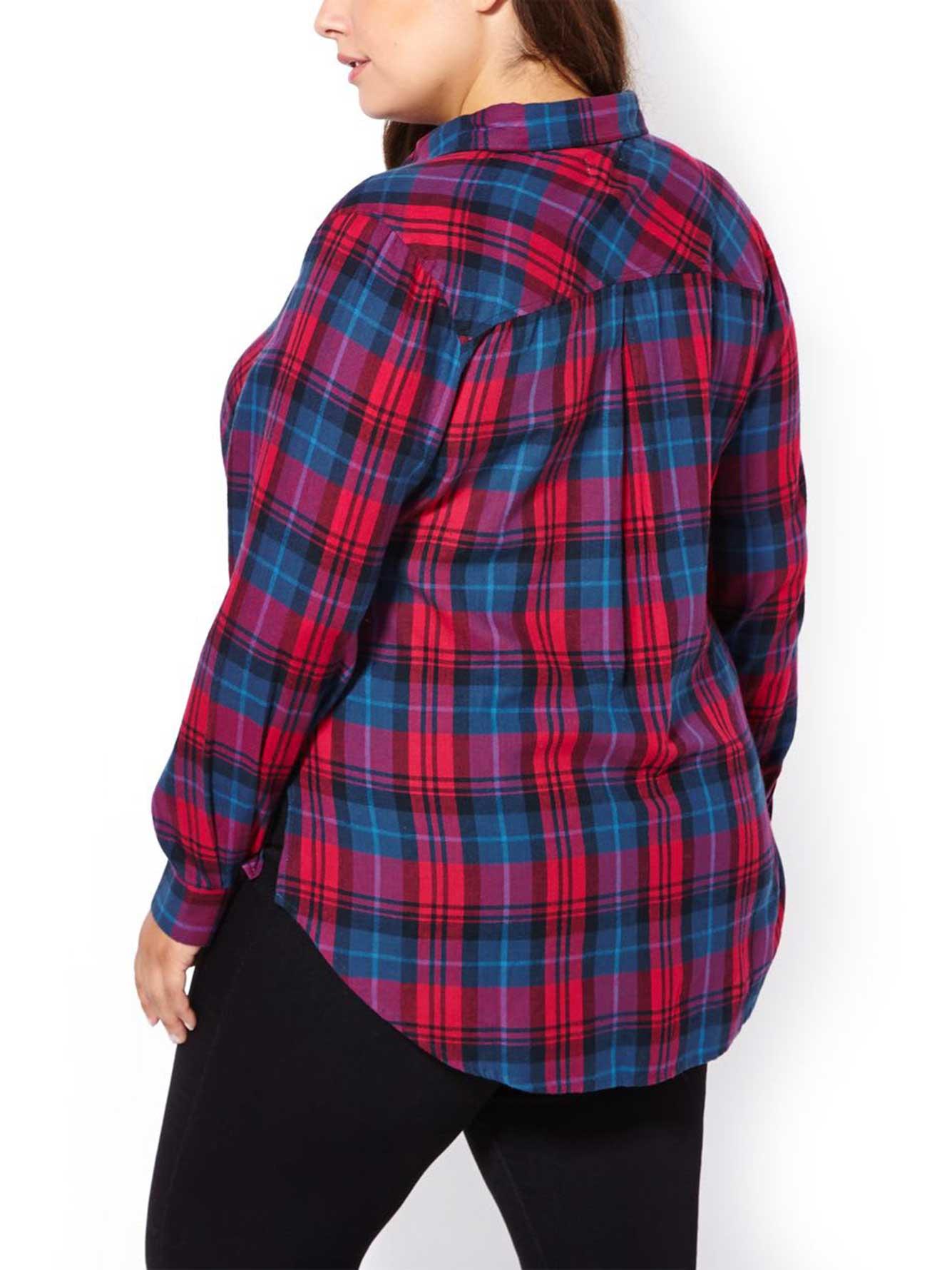 D C Jeans Long Sleeve Flannel Plaid Shirt Penningtons