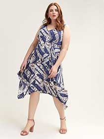 Scarf Print Hanky Hem Dress