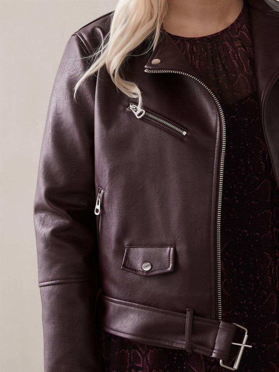 Textured Faux Leather Biker Jacket - Addition Elle