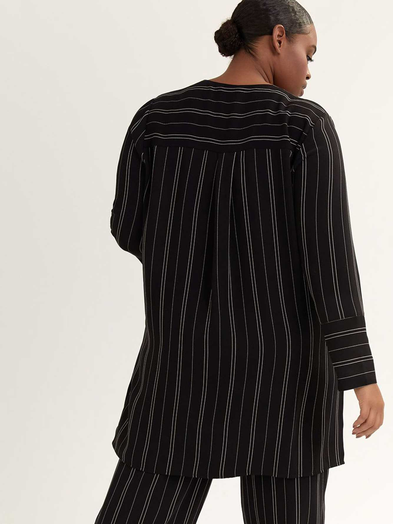 Striped Long Sleeve Duster with Belt - In Every Story