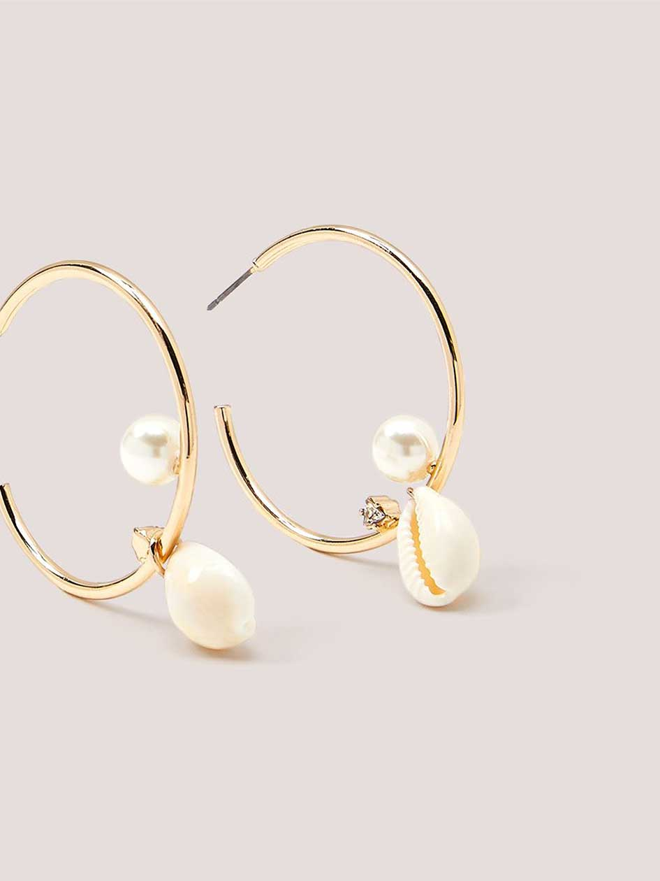 Hoop Earrings with Shell and Pearl
