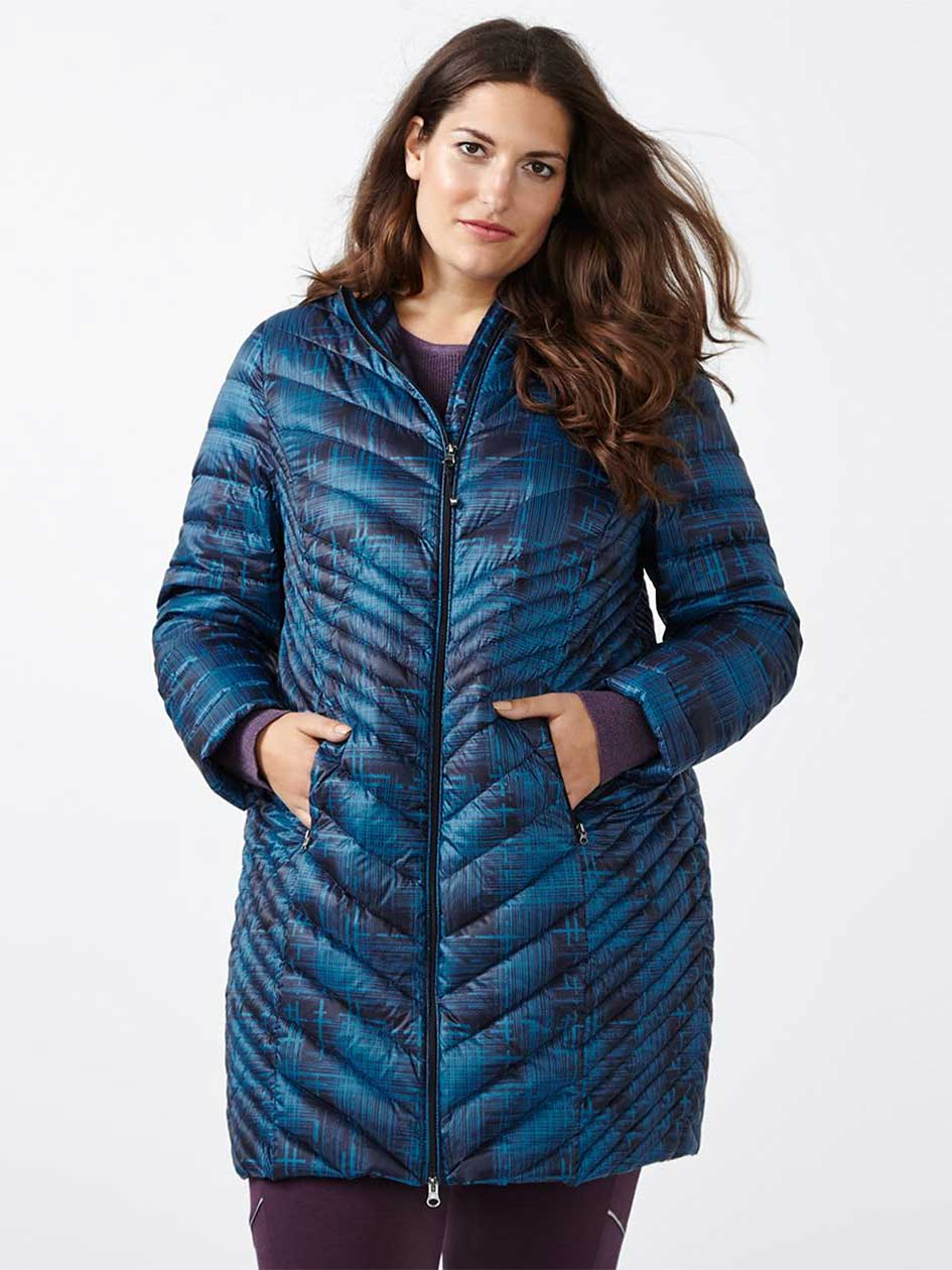 ActiveZone Long Plus-Size Printed Packable Jacket