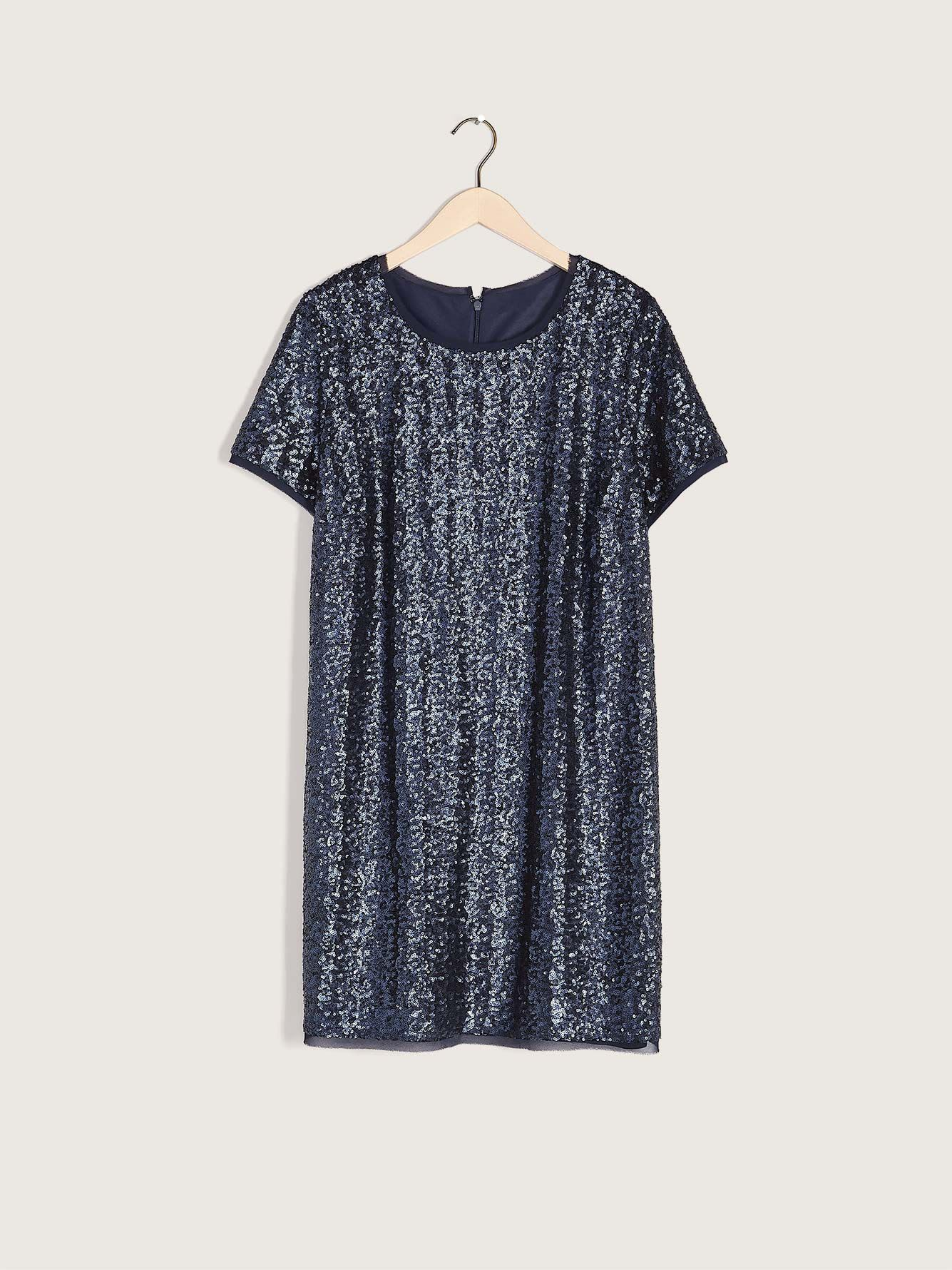 Short-Sleeve Sequin Mini Dress - Addition Elle