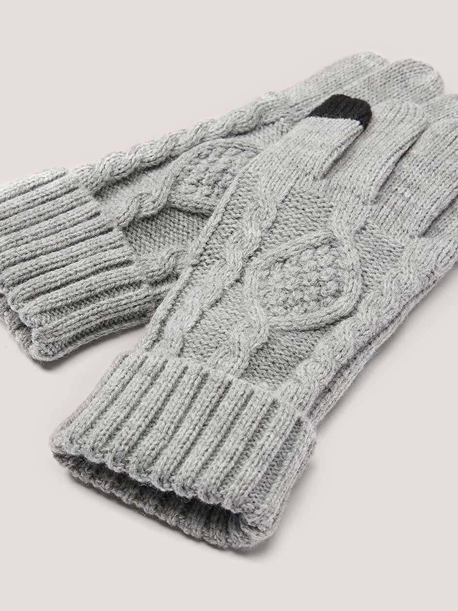 Cable Knit Gloves with I-Touch