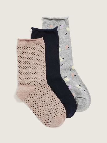 Printed Rolled Edge Crew Socks, 3-Pack - Addition Elle