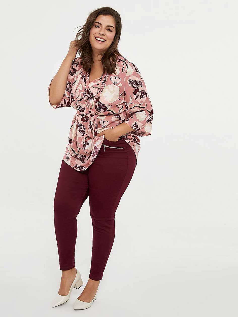 3/4 Bell Sleeve Printed Blouse with Pintuck Detail - In Every Story